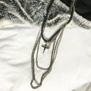 Jewelry - Black & Silver Chains with Cross